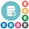Database timed events flat round icons - Database timed events flat white icons on round color backgrounds