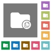 Copy directory square flat icons - Copy directory flat icons on simple color square backgrounds