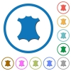 Genuine leather icons with shadows and outlines - Genuine leather flat color vector icons with shadows in round outlines on white background