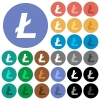 Litecoin digital cryptocurrency round flat multi colored icons - Litecoin digital cryptocurrency multi colored flat icons on round backgrounds. Included white, light and dark icon variations for hover and active status effects, and bonus shades on black backgounds.