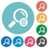 Search options flat round icons - Search options flat white icons on round color backgrounds