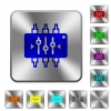 Chip tuning rounded square steel buttons - Chip tuning engraved icons on rounded square glossy steel buttons