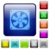 Computer fan color square buttons - Computer fan icons in rounded square color glossy button set
