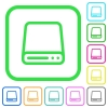 Hard disk drive vivid colored flat icons - Hard disk drive vivid colored flat icons in curved borders on white background