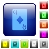 Queen of diamonds card color square buttons - Queen of diamonds card icons in rounded square color glossy button set