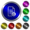 Locked document luminous coin-like round color buttons - Locked document icons on round luminous coin-like color steel buttons