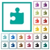 Puzzle flat color icons with quadrant frames - Puzzle flat color icons with quadrant frames on white background