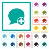 Post blog comment flat color icons with quadrant frames - Post blog comment flat color icons with quadrant frames on white background