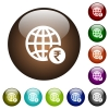 Online Rupee payment color glass buttons - Online Rupee payment white icons on round color glass buttons