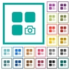 Camera plugin flat color icons with quadrant frames - Camera plugin flat color icons with quadrant frames on white background