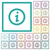 Information flat color icons with quadrant frames - Information flat color icons with quadrant frames on white background
