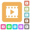 Movie play rounded square flat icons - Movie play flat icons on rounded square vivid color backgrounds.