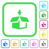 Pack to box vivid colored flat icons - Pack to box vivid colored flat icons in curved borders on white background