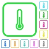 Thermometer vivid colored flat icons - Thermometer vivid colored flat icons in curved borders on white background