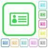 ID card vivid colored flat icons - ID card vivid colored flat icons in curved borders on white background