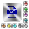 BAT file format rounded square steel buttons - BAT file format engraved icons on rounded square glossy steel buttons