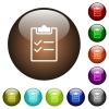 Checklist color glass buttons - Checklist white icons on round color glass buttons