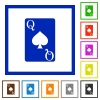 Queen of spades card flat framed icons - Queen of spades card flat color icons in square frames on white background