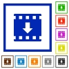 Move down movie flat framed icons - Move down movie flat color icons in square frames on white background