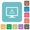 Display warning rounded square flat icons - Display warning white flat icons on color rounded square backgrounds