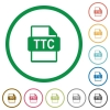 TTC file format flat icons with outlines - TTC file format flat color icons in round outlines on white background