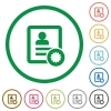 Certified contact flat icons with outlines - Certified contact flat color icons in round outlines on white background