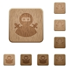 Ninja avatar wooden buttons - Ninja avatar on rounded square carved wooden button styles