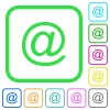 Single email symbol vivid colored flat icons - Single email symbol vivid colored flat icons in curved borders on white background