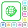 International call vivid colored flat icons - International call vivid colored flat icons in curved borders on white background