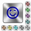 Winking emoticon rounded square steel buttons - Winking emoticon engraved icons on rounded square glossy steel buttons