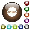 Bonus sticker color glass buttons - Bonus sticker white icons on round color glass buttons