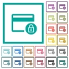 Lock credit card transactions flat color icons with quadrant frames - Lock credit card transactions flat color icons with quadrant frames on white background