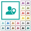 User location flat color icons with quadrant frames - User location flat color icons with quadrant frames on white background