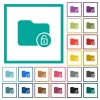 Unlock directory flat color icons with quadrant frames - Unlock directory flat color icons with quadrant frames on white background