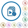 Unlock playlist icons with shadows and outlines - Unlock playlist flat color vector icons with shadows in round outlines on white background