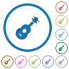 Acoustic guitar icons with shadows and outlines - Acoustic guitar flat color vector icons with shadows in round outlines on white background