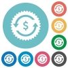 Dollar pay back guarantee sticker flat round icons - Dollar pay back guarantee sticker flat white icons on round color backgrounds