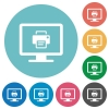 Print screen flat round icons - Print screen flat white icons on round color backgrounds
