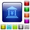 Yen bank office color square buttons - Yen bank office icons in rounded square color glossy button set
