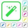 Magic wand vivid colored flat icons - Magic wand vivid colored flat icons in curved borders on white background