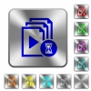 Preparing playlist rounded square steel buttons - Preparing playlist engraved icons on rounded square glossy steel buttons