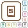 Mobile speakerphone simple icons - Mobile speakerphone simple icons in color rounded square frames on white background