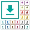Download flat color icons with quadrant frames - Download flat color icons with quadrant frames on white background