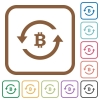 Bitcoin pay back simple icons - Bitcoin pay back simple icons in color rounded square frames on white background