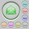 Open mail with email symbol push buttons - Open mail with email symbol color icons on sunk push buttons