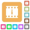 Movie information rounded square flat icons - Movie information flat icons on rounded square vivid color backgrounds.