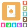Four of spades card flat icons on rounded square vivid color backgrounds. - Four of spades card rounded square flat icons