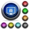 Online calendar round glossy buttons - Online calendar icons in round glossy buttons with steel frames