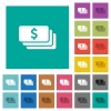 Dollar banknotes square flat multi colored icons - Dollar banknotes multi colored flat icons on plain square backgrounds. Included white and darker icon variations for hover or active effects.