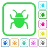 Bug vivid colored flat icons - Bug vivid colored flat icons in curved borders on white background